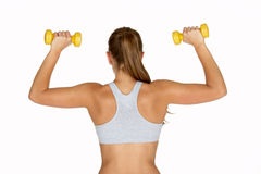 Young Woman Holding Two Dumbbells Royalty Free Stock Photography
