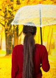 Young woman holding an umbrella wearing a red sweater with long hair, back side at beautiful autum park Stock Photos