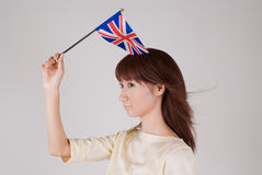 Young woman holding Union Jack Royalty Free Stock Photo
