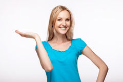 Young woman holding up her hand Royalty Free Stock Images