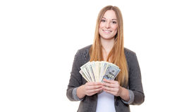 Young woman holding US dollar notes Stock Photo