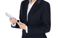 Young woman holding using touch pad tablet computer, isolated Royalty Free Stock Images