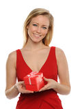 Young Woman holding a valentine's gift Stock Images