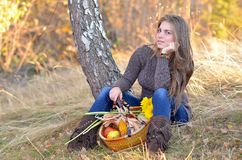 Young woman holding vegetables basket outdoor Royalty Free Stock Images