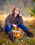 Young woman holding vegetables basket outdoor Royalty Free Stock Photography
