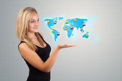 Young woman holding virtual map Royalty Free Stock Image