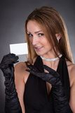 Young Woman Holding Visiting Card. Portrait Of Young Beautiful Woman Visiting Card stock photography
