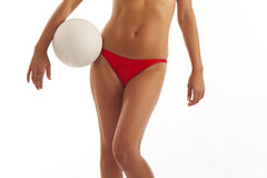Young woman holding volleyball Stock Photo