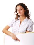 Young woman holding a white board Royalty Free Stock Image