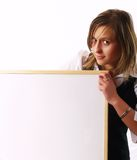 Young woman holding a white board Stock Photo