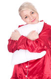 Young woman holding white pillow Stock Image