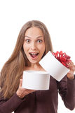 Young woman holding white round gift box Stock Photos