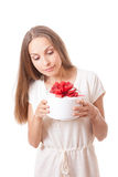 Young woman holding white round gift box Stock Image