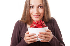 Young woman holding white round gift box Royalty Free Stock Photography