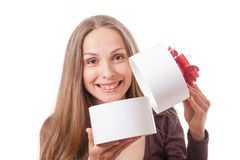 Young woman holding white round gift box Royalty Free Stock Image