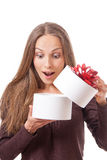 Young woman holding white round gift box Royalty Free Stock Photo