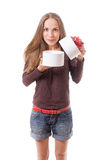 Young woman holding white round gift box Stock Photography