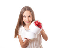 Young woman holding white round gift box Royalty Free Stock Photos