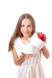 Young woman holding white round gift box Royalty Free Stock Images