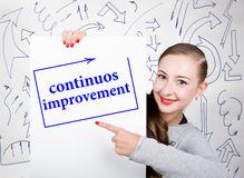 Young woman holding whiteboard with writing word: continuos impruvement. Technology, internet, business and marketing. Royalty Free Stock Images