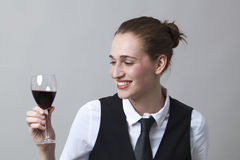 Young Woman holding and wine glass Stock Photography