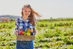 Young woman holding wooden crate with vegetables Stock Images