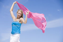 Young woman holding wrap Royalty Free Stock Photos