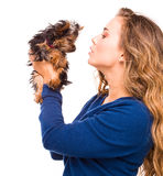 Young woman holding Yorkshire terrier dog Stock Photos