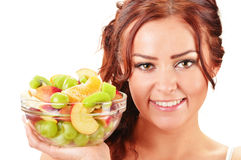 Young woman holdking fruit salad bowl Royalty Free Stock Image