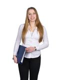 Young woman holds a blue file Royalty Free Stock Image