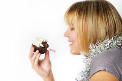 Young woman holds cake lamb as simbol 2015 new years isolated Royalty Free Stock Photos