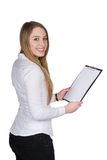 Young woman holds a clipboard Stock Images