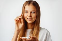 Free Young Woman Holds Contact Lens On Her Finger. Eyewear, Eyesight And Vision, Eye Care And Health, Ophthalmology And Optometry Stock Photography - 165854622