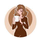 Young woman holds a cup of coffee or tea. Vintage coffee illustration Royalty Free Stock Photo