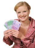 The young woman holds the European currency Stock Images