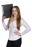 Young woman holds a file Royalty Free Stock Photos