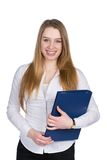 Young woman holds a file Royalty Free Stock Photography