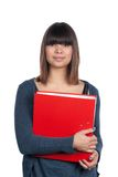 Young woman holds a file Stock Photo