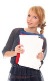 Young woman holds folders and documents Royalty Free Stock Photos