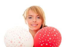 Young woman holds in hands balloons Stock Photography