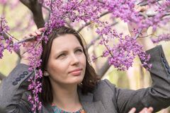 A young woman holds the hands of blossoming branches of a tree in early spring Stock Image
