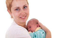 Young woman holds on hands her newborn baby Stock Images
