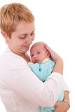 Young woman holds on hands her newborn baby Stock Image