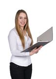 Young woman holds an opened file Royalty Free Stock Photos