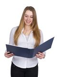 Young woman holds an opened file Stock Image