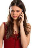 Young woman holds a phone. Stock Photos