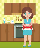 Young woman holds a pie. Vector illustration, color full, no gradient Royalty Free Stock Image