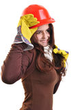 Young woman holds a red safety helmet Royalty Free Stock Image