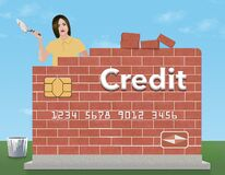 A young woman holds a trowel and mortar as she rebuilds a brick credit card