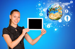 Young woman holging tablet Stock Photography
